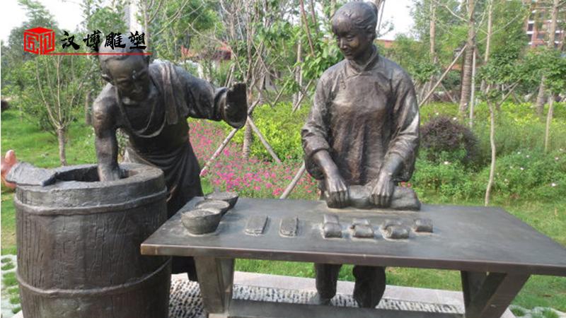 民俗小品雕像_人物雕塑制作_户外景观雕像_大型人物铜雕_商业街雕塑