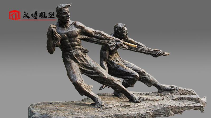 纤夫文化主题人物雕塑,他们用血肉之躯拉出码头历史文化