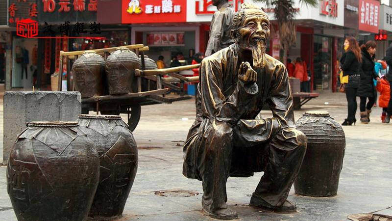 商业街雕塑_人物雕塑定制_户外铜雕定制_人物铸铜雕塑_玻璃钢雕塑