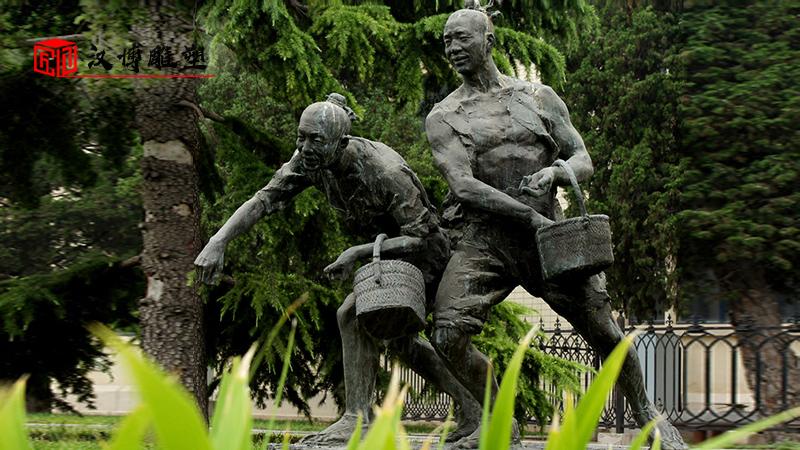 户外大型雕塑_人物雕像定制_农耕文化铜雕_民俗文化雕像_农耕主题铜雕