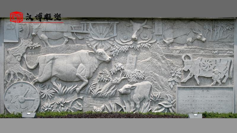 牛生肖浮雕_十二生肖浮雕_浮雕定制_户外雕像制作_生肖主题雕塑