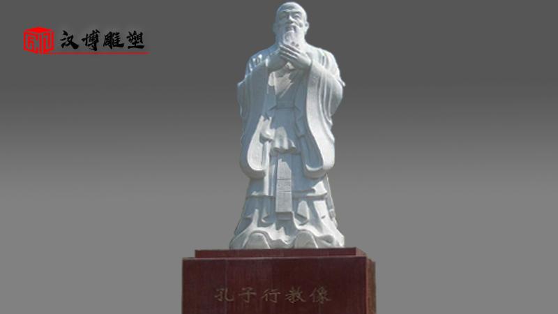 汉白玉石雕定制_户外大型雕塑_园林景观石雕_古人物雕像_石雕像加工