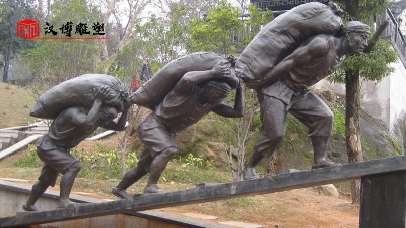 码头文化雕塑_人物铸铜雕像_户外大型铜雕_历史码头雕像_大型景观雕塑