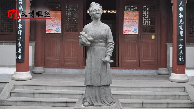 黄道婆雕塑_纺织文化雕塑_人物雕像定制_大型铜雕定制_纺织人物雕塑