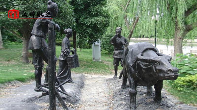 农耕人物雕塑_农耕铜雕定制_人物雕塑加工_人物铸铜雕塑_民俗景观雕像